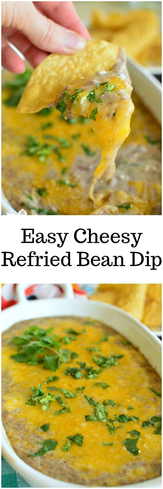 Easy Ccheesy Refried Bean Dip is a warm bean dip that only takes 4 ingredients! It's addictiong though! #cincodemayo #tailgating www.littledairyontheprairie.com