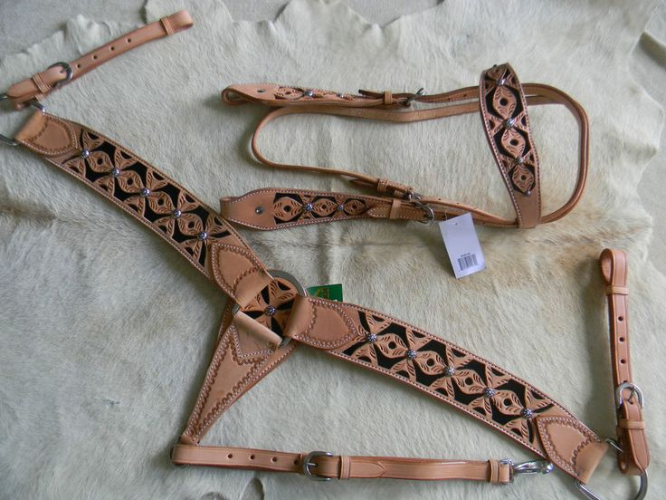 Headstall & Breast Collar Light Finish Leather Black Inlay New Horse Tack SALE    eBay