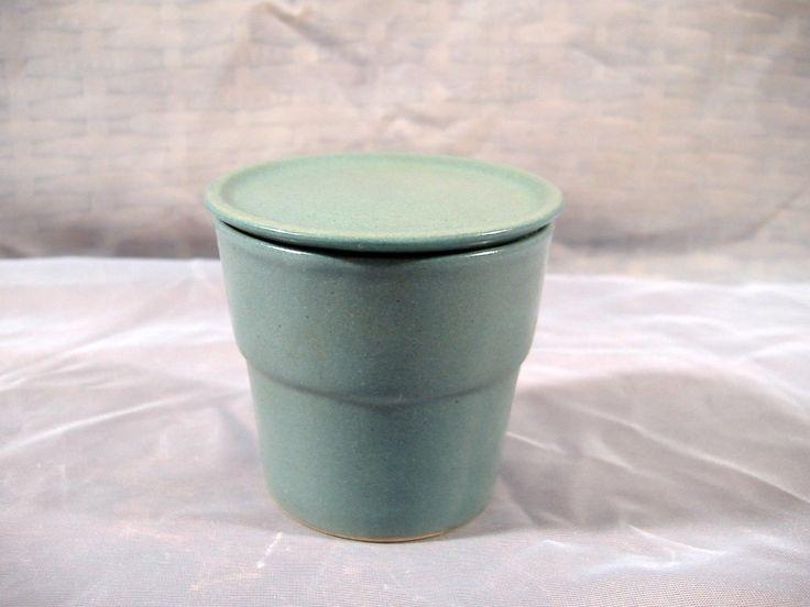 Vintage Bennington Pottery Lidded Jar Cup Teal Blue Gray Signed | eBay