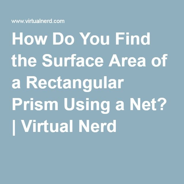 How Do You Find the Surface Area of a Rectangular Prism Using a Net? | Virtual Nerd
