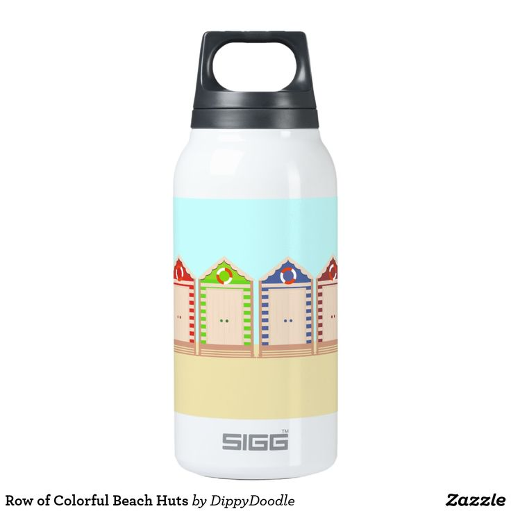 Row of Colorful Beach Huts Thermos