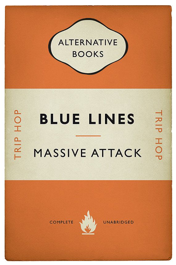 I am producing a set of book cover posters in the style of a classic paperback that commemorate groundbreaking albums through the ages. This design is for the Trip Hop masterpiece Blue Lines by Massive Attack. Blue Lines is the debut album by Bristol trip hop group Massive Attack,