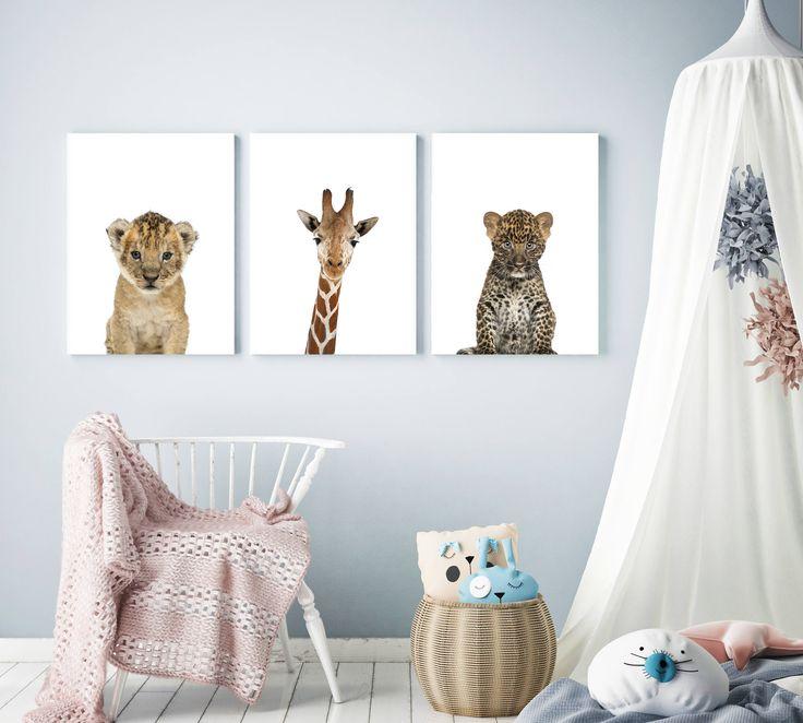 Baby animal set of 3 Safari animals set Baby animal set, safari nursery decor ideas, nursery wall art, nursery prints, nursery baby animal prints, safari themed nursery, safari nurseries, giraffe lion cub baby leopard, nursery decor ideas