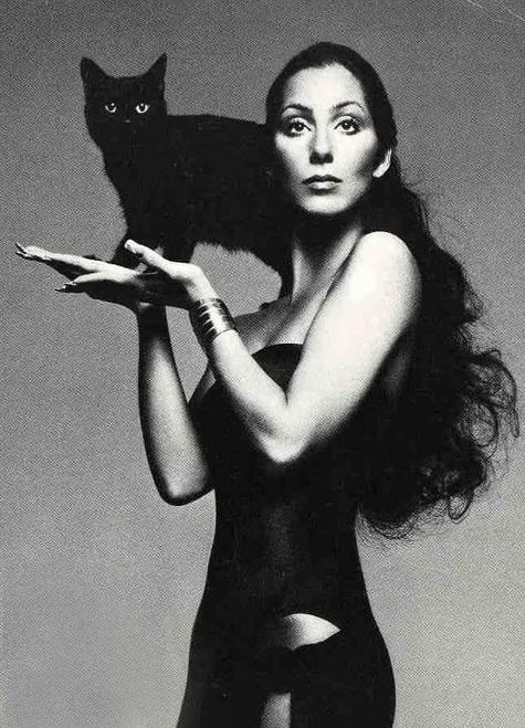 Cher & black cat.   Had this poster in nurses training in my apt.... long long ago.
