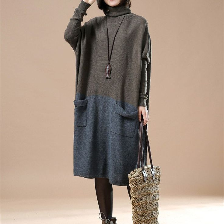 Casual Loose Cotton Knitting Sweater Dress $58.00