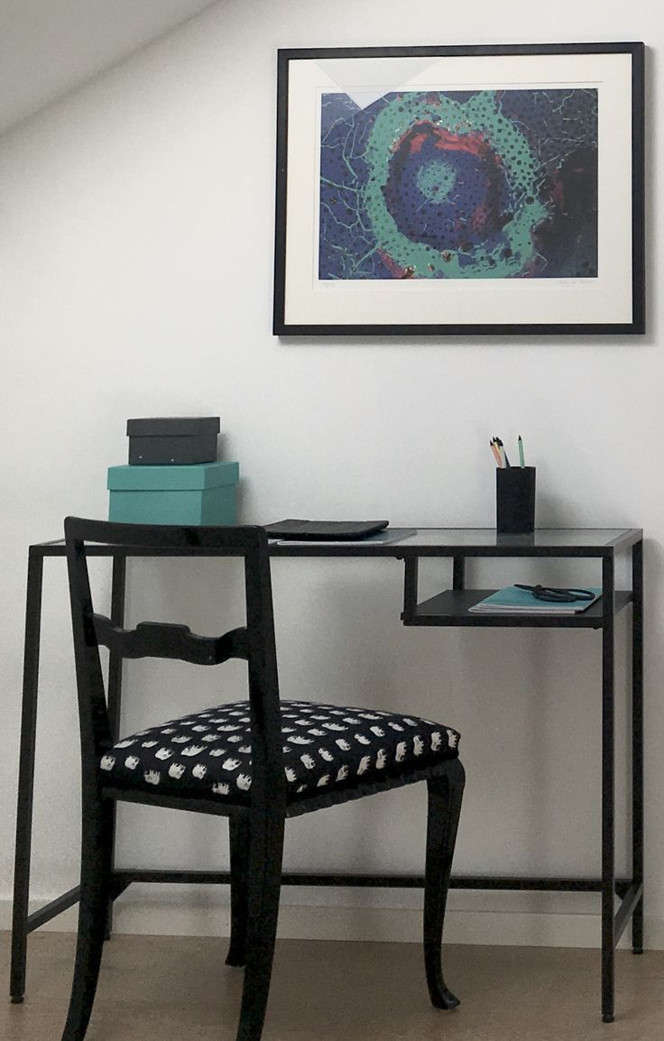 Ikea Vittsjö working desk, chair with svenskt tenn textile