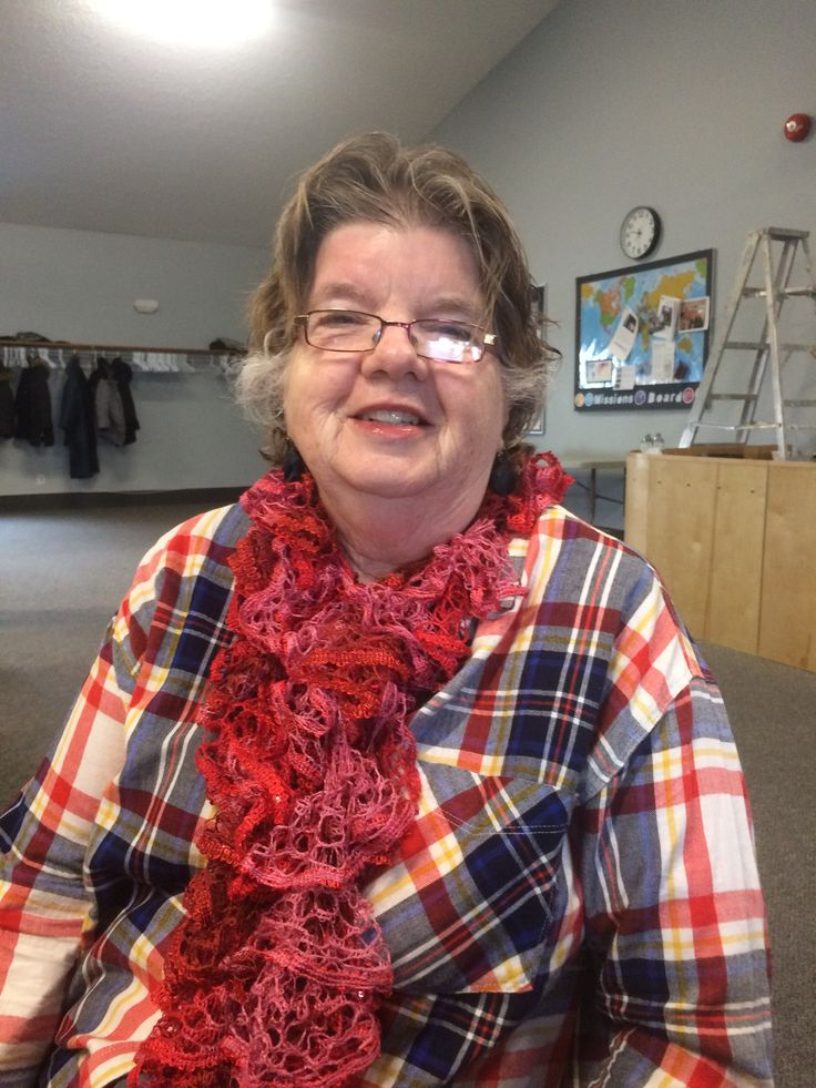 My friend Sandra is wearing my latest lace scarf