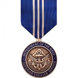 The Navy Superior Civilian Service Award Medal is a decoration presented by the United States Secretary of the Navy to recognize Navy civilian employees who have provided exceptional services that have made a significant and positive impact on the Department of the Navy. It is the second highest honorary award bestowed on civilian employees by the Department of the Navy, the highest being the Navy Distinguished Civilian Service Award.