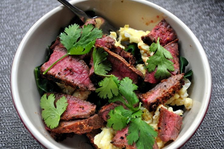 Easy Steak & Eggs (with Cilantro & Kale). Paleo, low carb, and fitness competition diet!