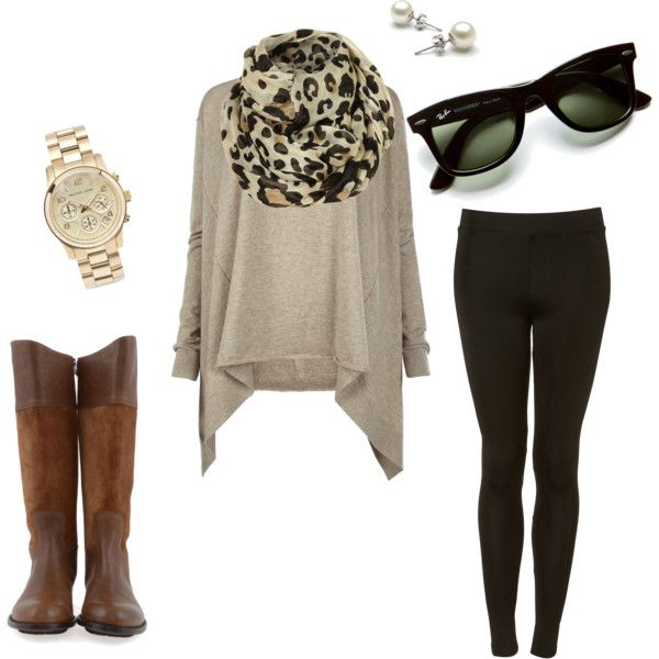 Comfy look... Big sweater, leopard scarf, and black leggings
