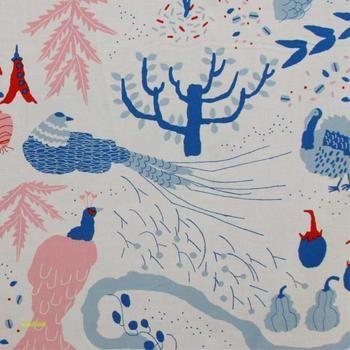 Watashino Niwa Fabric in Blue