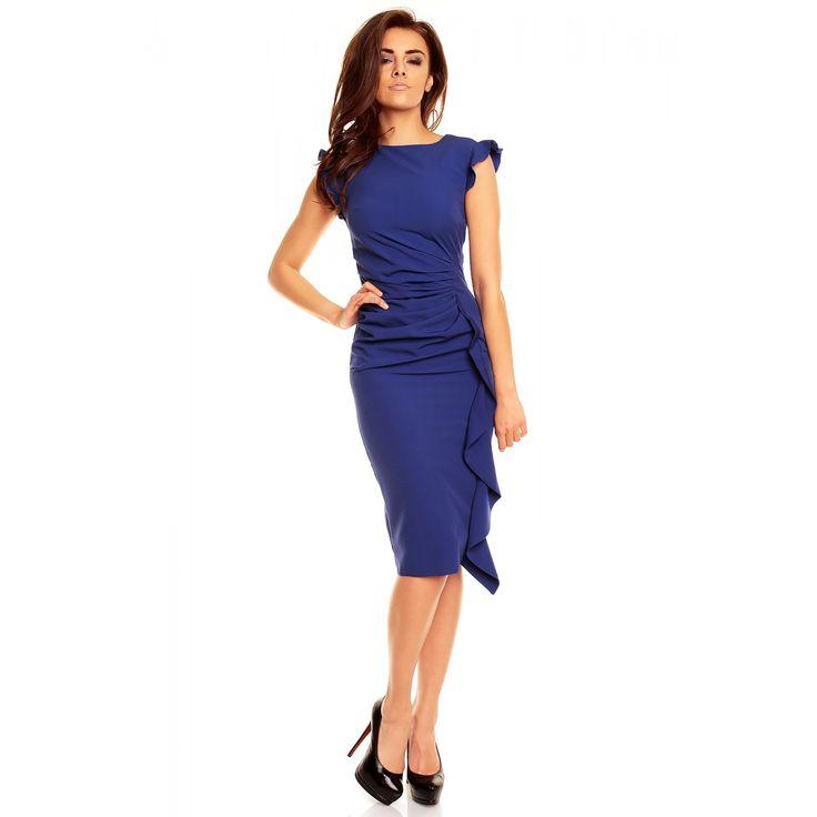 Rochie albastra eleganta ,mulata pe corp, cu volan vertical lateral Kartes