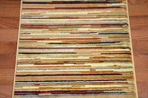 Best Striation Stripes Beige Carpet Runner Rug 26 W Purchase 400 x 300
