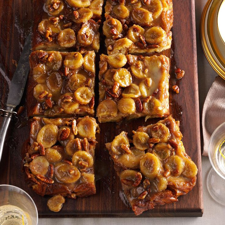 Bananas Foster Baked French Toast Recipe -Mmm…bananas Foster for breakfast! This yummy baked French toast serves up all the taste of the spectacular dessert in fine fashion. —L G Nasson, Quincy, Massachusetts
