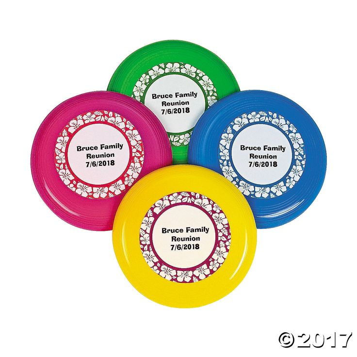 Personalized Mini Paradise Party Flying Discs - OrientalTrading.com