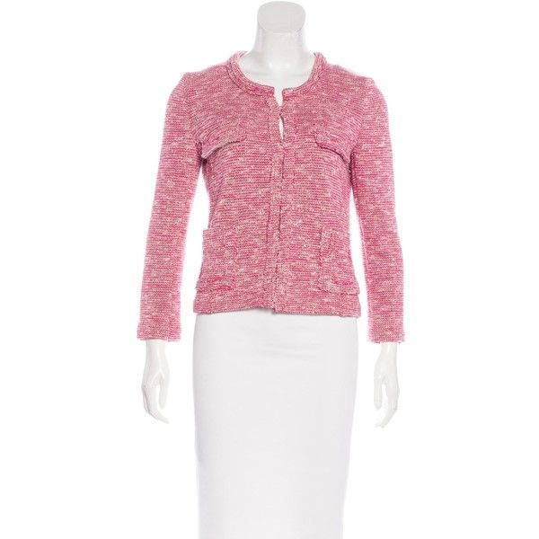 Pre-owned ?toile Isabel Marant M?lange Knit Jacket ($85) ❤ liked on Polyvore featuring outerwear, jackets, pink, white knit jacket, multi-color leather jackets, knit jacket, multi coloured jacket and white jacket