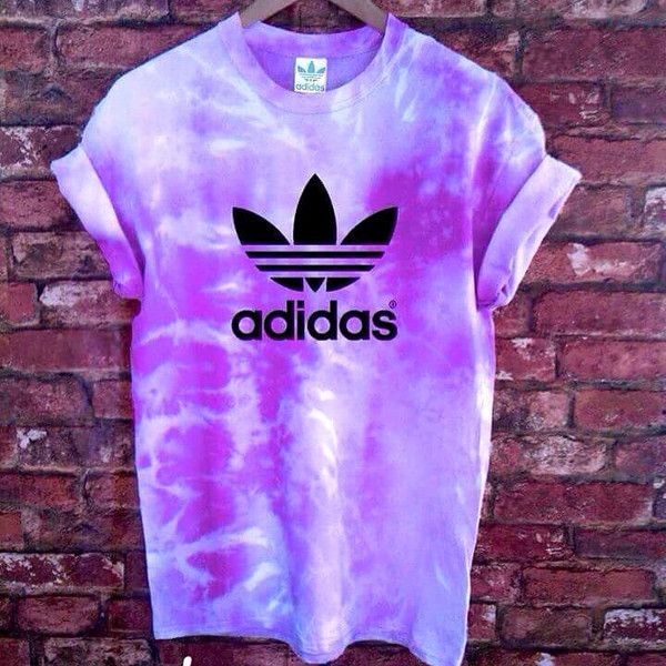 Unisex Authentic Adidas Originals Tie Dye Purple T-Shirt (£31) ❤ liked on Polyvore featuring tops, t-shirts, light purple, women's clothing, logo tee, short sleeve tee, tie dyed t shirts, tie dye t shirts and logo t shirts