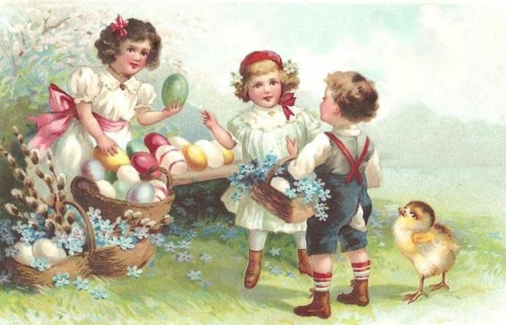 A sweetly charming trio of Victorian youngsters gathering Easter eggs.