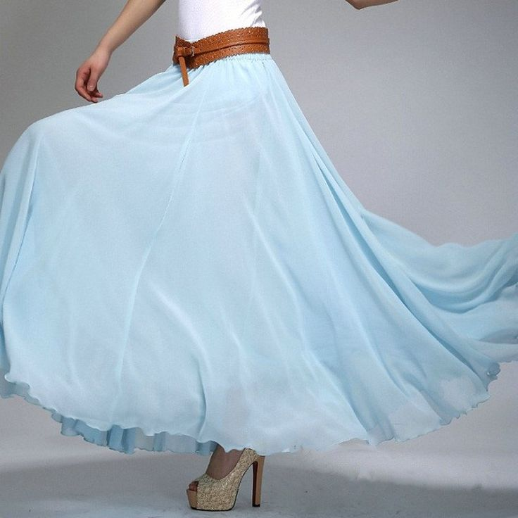 Sky Blue Chiffon Maxi Skirt With Extra Wide Hem Long