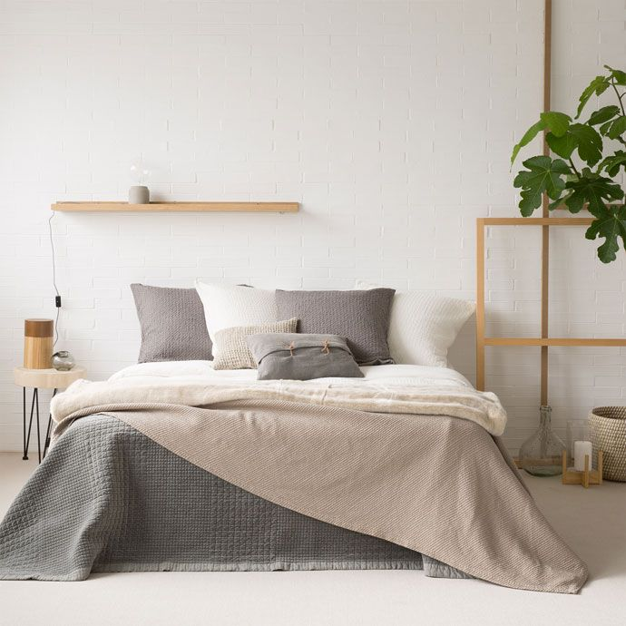 Taupe diagonal striped cotton cushion cover and bedspread