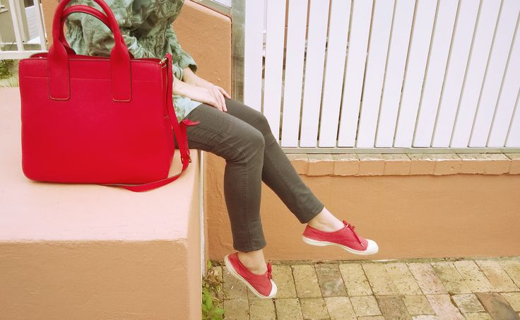 Pop of red, structured bad and watermelon Bensimon shoes