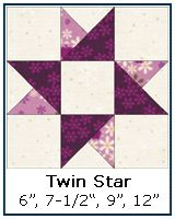 Twin Star quilt block tutorial, quarter & half square triangles