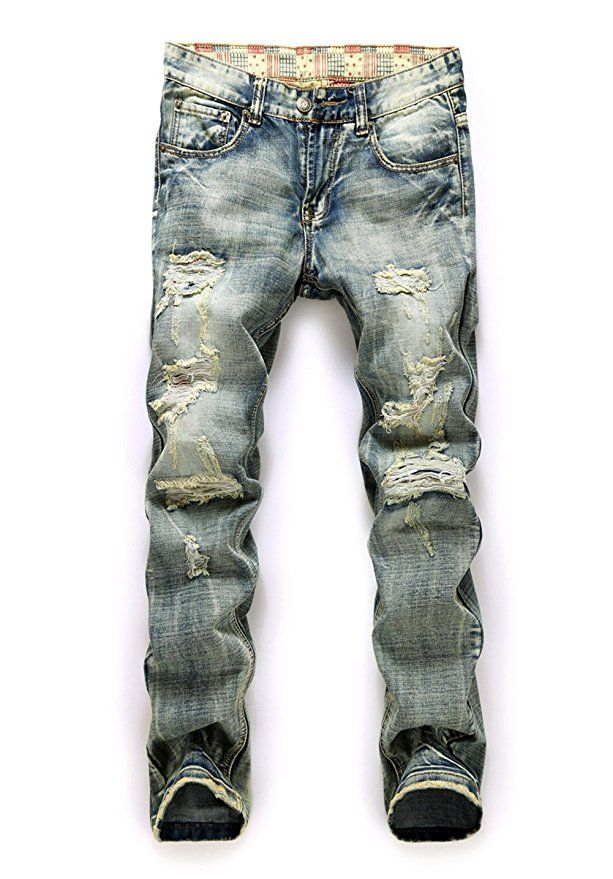 Feeson Mens Vintage Casual Ripped Broken Hole Jeans Denim Jogger Pants Plus Light Blue 32 Price: 	$29.99 - $59.99