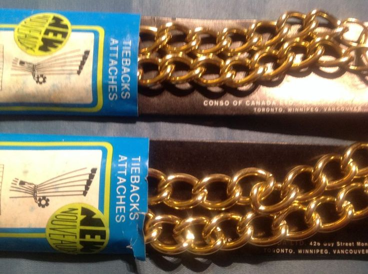 TWO Vintage Brass/Gold Metal Drapery Curtain CONSO TIE BACK Hook Chain NIP LINKS #Conso