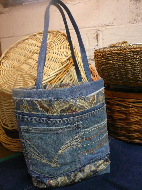 Upcycled Denim Striped Small Tote Bag by holeheart on Etsy