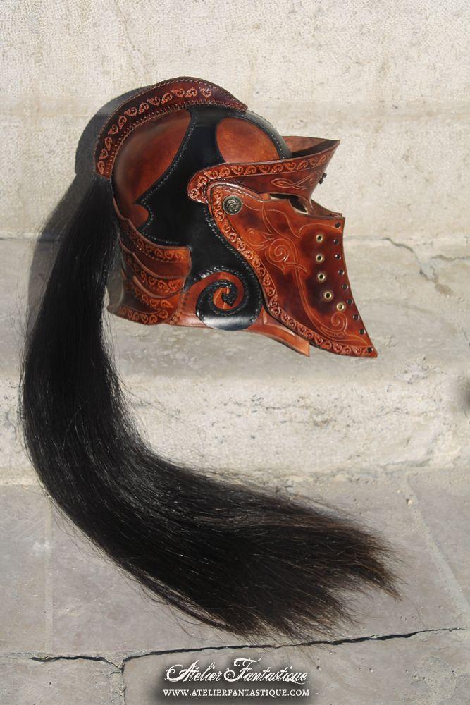 Medieval fantasy leather helmet --------------- Casque en cuir médiéval fantastique GN LARP