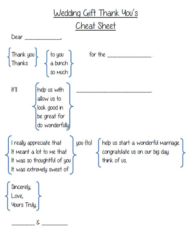 Wedding Gift Thank You's cheat sheet (typed)