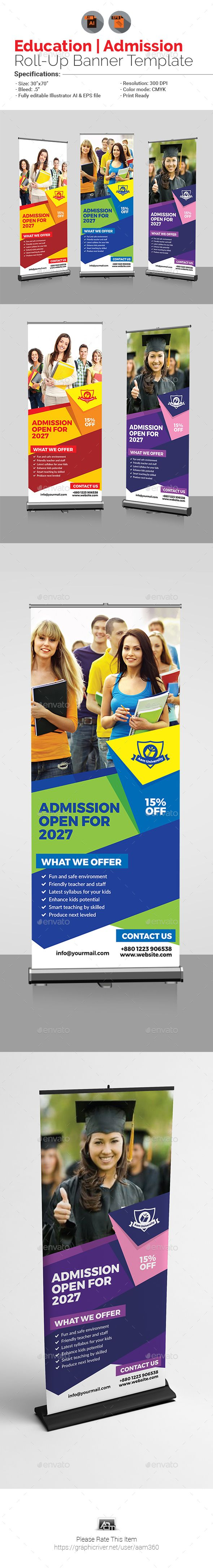 Education - Admission Roll Up Banner Template Vector EPS, AI Illustrator