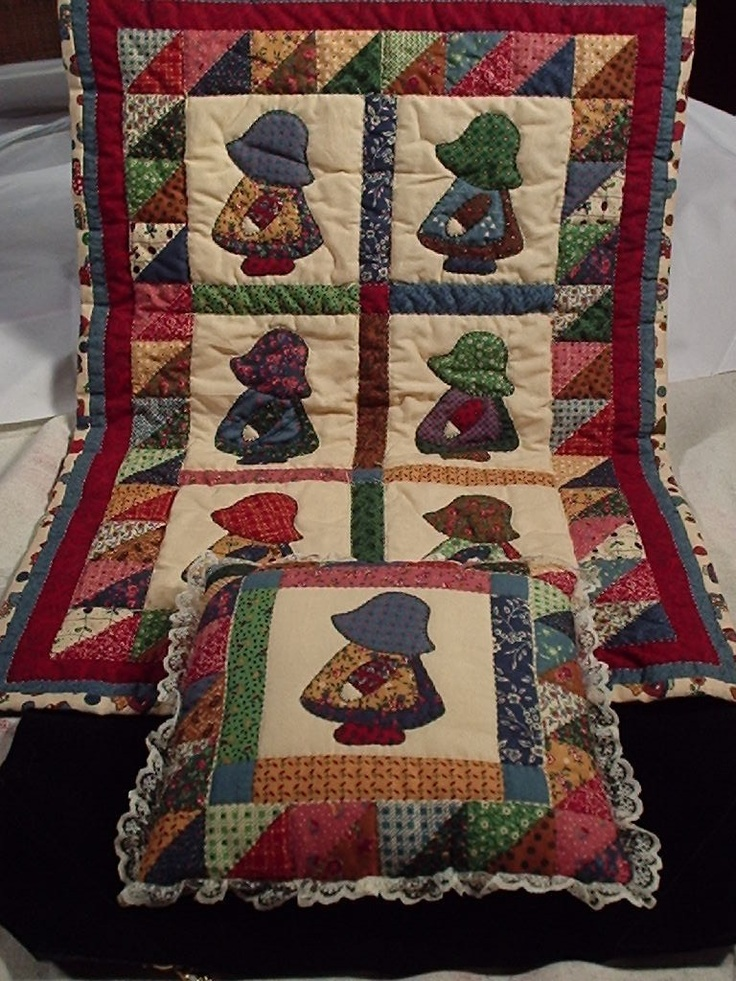 Sun bonnet sue is one of my favs...Sun bonnet sue quilt patterns free | SUNBONNET SUE DOLL QUILT and PILLOW SET by mattieshodgepodge