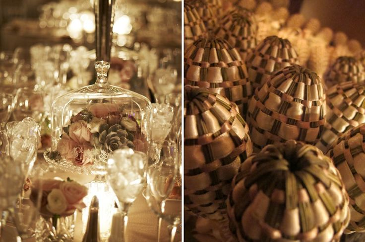 Flower arrangements placed in crystal covered dessert stands and lavender wand wedding favors!