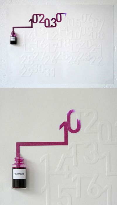 Ink Calendar- The ink is absorbed at an exact rate so that today's date will be coloured. SO cool!