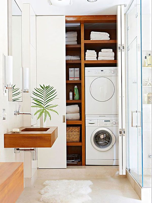 20 Small Laundry with Bathroom Combinations... Love the shelves surrounding the stacked washer and dryer