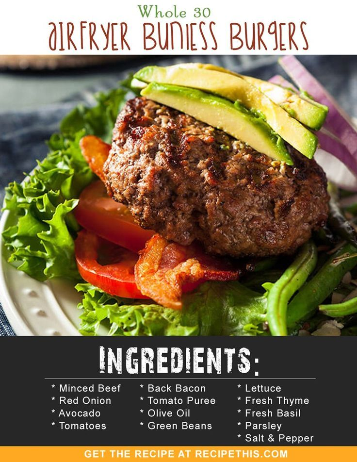 Whole 30 | Whole 30 Airfryer Bunless Burgers recipe from RecipeThis.com