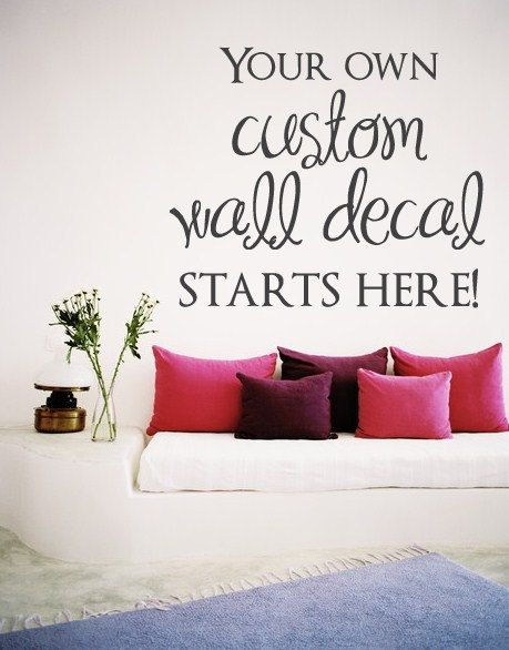 FREE SHIPPING Custom Wall Decal - Choose the font style, size, color and image! on Etsy, $6.00