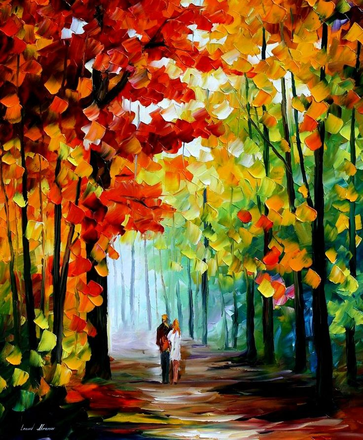 "MORNING IN THE WOODS — PALETTE KNIFE Oil Painting On Canvas By Leonid Afremov - Size 36""x30"""