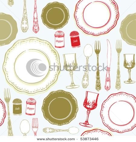 retro kitchen pattern illustration
