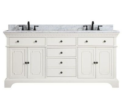 Azzuri Hastings Marble Top 73 Double Bathroom Vanity Set Marble