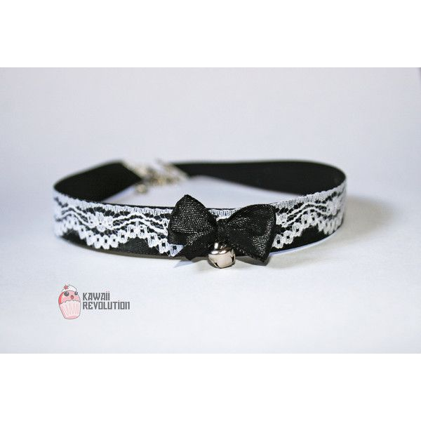 Choker Gothic Lolita Pastel Goth Black Collar Necklace with Lace... ($12) ❤ liked on Polyvore featuring jewelry, necklaces, white choker, goth choker, gothic necklace, lace necklace and goth necklace