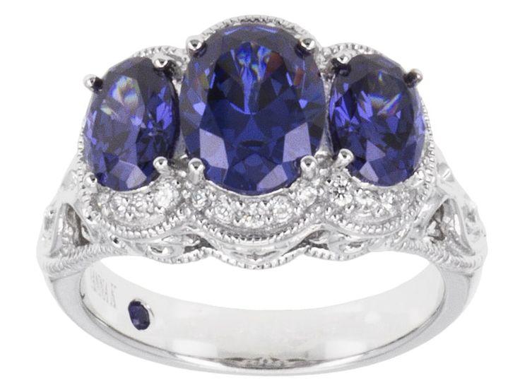 Vanna K (Tm) For Bella Luce (R) 4.91ctw Tanzanite Simulant & Diamond Simulant Platineve (Tm) Ring