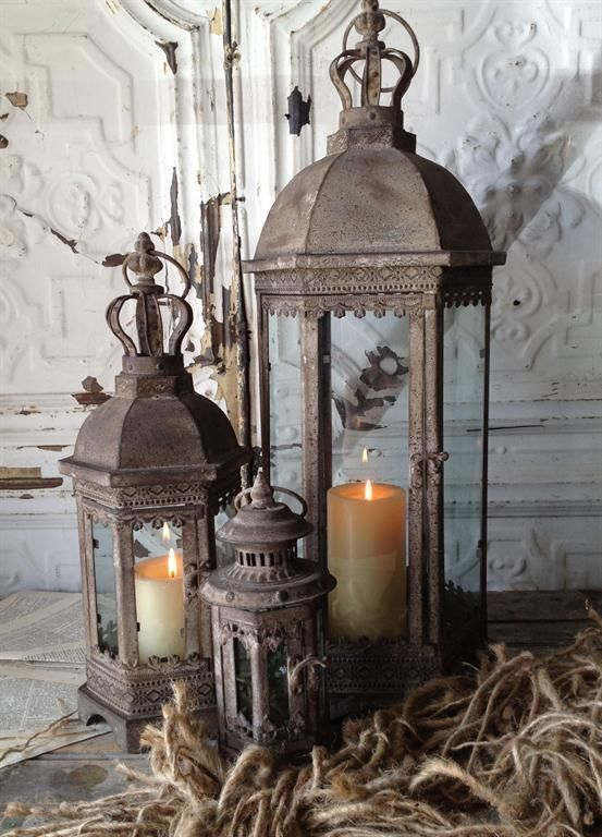 FRENCH COUNTRY Rustic Metal LANTERN CANDLE HOLDER With CROWN TOPSS 3