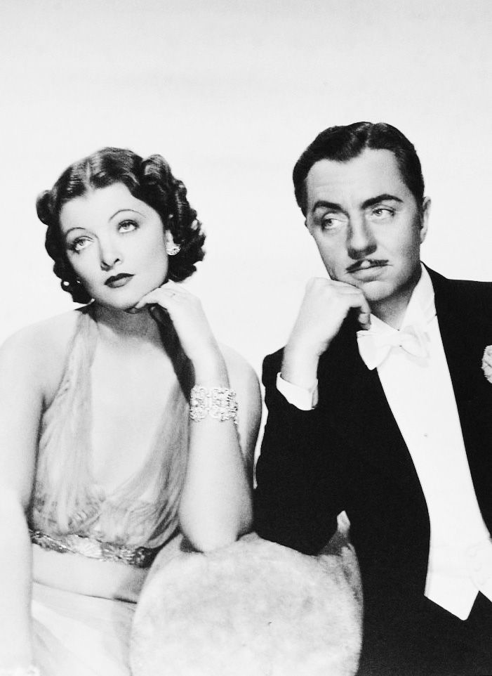 Myrna Loy and William Powell as Nick and Nora Charles in 'The Thin Man' film series.