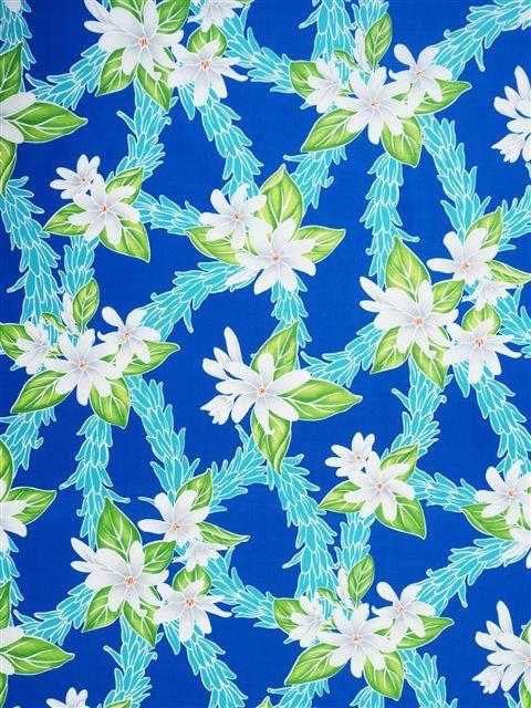 Slight Plumeria Lei Blue Poly Cotton LW-18-667
