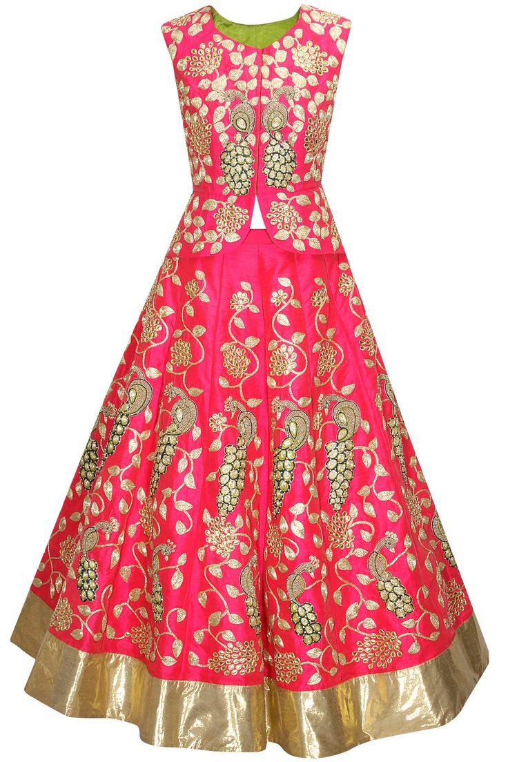 Pink and gold peacock embroidered lehenga set by Aharin India. Shop now: http://www.perniaspopupshop.com/designers/aharin-india #lehenga #aharin #shopnow #perniaspopupshop
