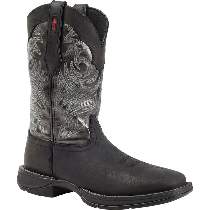 Durango Rebel Black Western Wellington Boot: The upper of this Rebel by Durango #DB014 men's Western boot can really be divided into two sections. There is the grey polyurethane shaft that is covered in handsome-looking stitching; it really draws in your eye and adds a bit of flair to these men's boots. Then there is the black full-grain leather; it is incredibly smooth, the quality is outstanding and its dark hue adds a traditional element to the footwear.