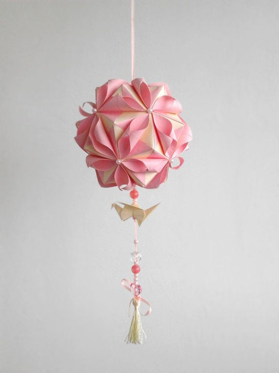 Origami paper ball. Kusudama in petals by WaveofLight on Etsy