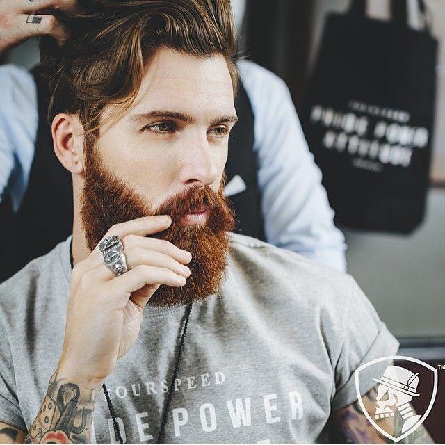 Levi Stocke - full thick dark red beard and mustache beards bearded man men mens' style street clothing fashion tattoos tattooed auburn ginger #beardsforever